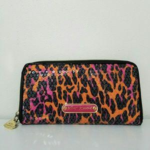 Betsey Johnson Animal Print Sequin Zip Wallet